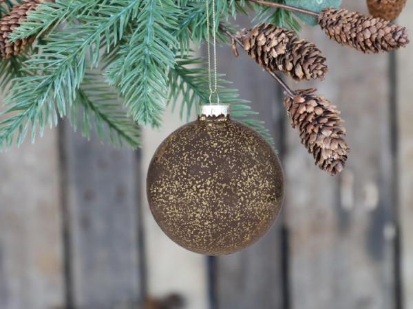 Weihnachtskugel mokka mit Goldmuster, Chic Antique