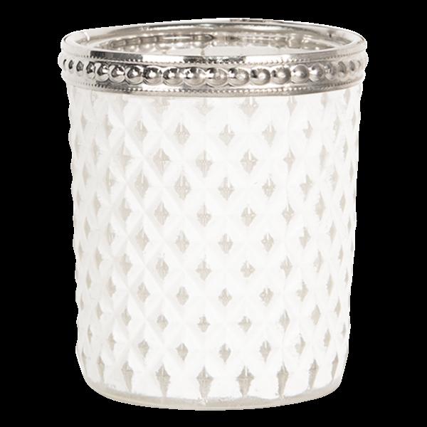 Teelichthalter - Kerzenglas weiss Rhombus klein, Clayre & Eef