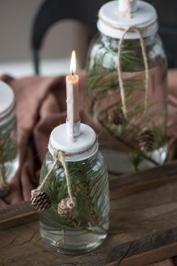 Kerzenhalter aus Glas mit Metalldeckel weiss - IB Laursen