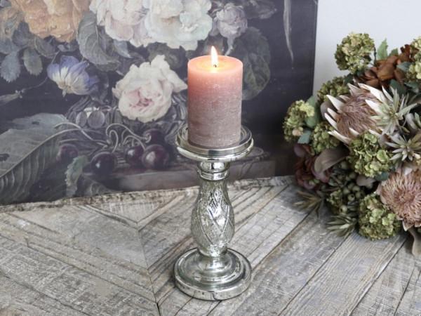 Kerzenständer bauernsilber mit Rhombusmuster - Chic Antique