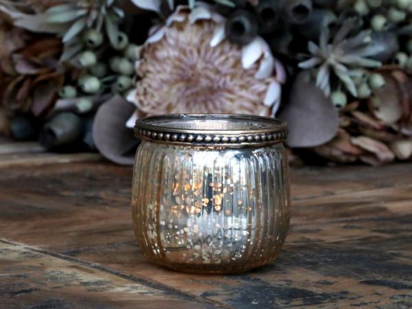 Teelichtglas champagner mit Perlenkante - Chic Antique
