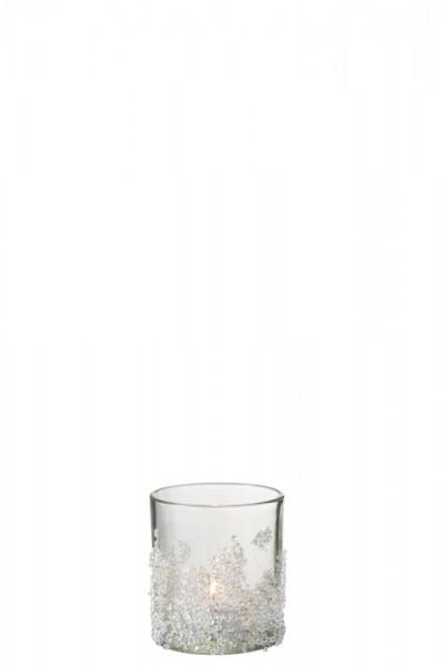 Teelichtglas mit Zuckerverzierung
