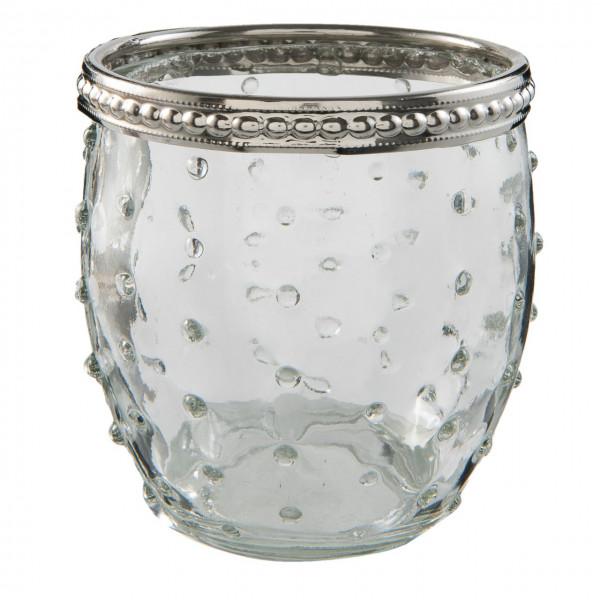 Teelichtglas mit Silberrand, transparent, Clayre&Eef