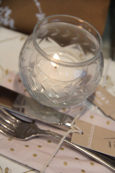 Teelicht rund mit Schliff (Ranke)