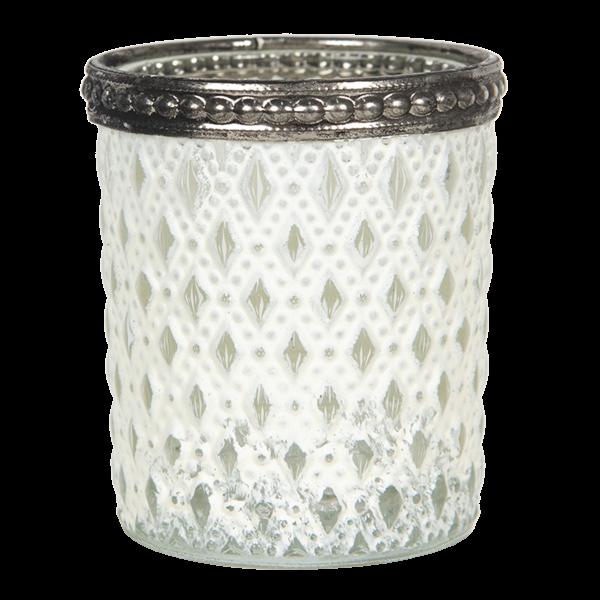 Teelichthalter - Kerzenglas weiss Rhombus mit Punkten, Clayre & Eef