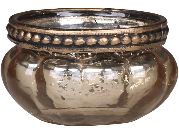 Teelichtglas champagner klein mit Perlenkante - Chic Antique