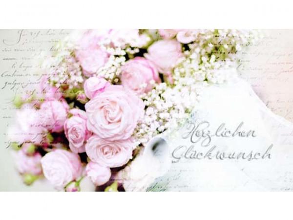 Geschenkanhänger Herzlichen Glückwunsch Rosen Schleierkraut