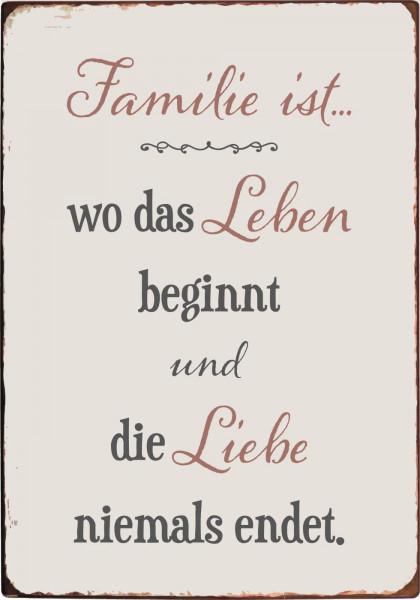 """Metallschild """"Familie"""" IB Laursen"""