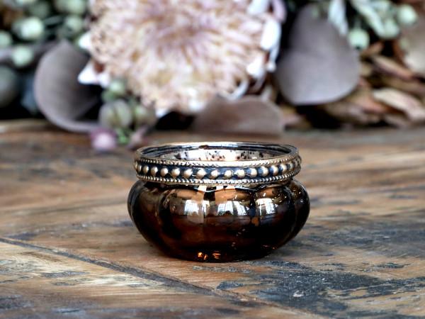 Teelichtglas mokka klein mit Perlenkante - Chic Antique