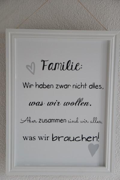 """Spruchschild-Rahmen """"Familie"""""""
