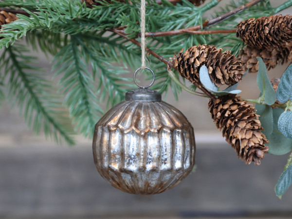 Weihnachtskugel mit Muster antique champagner, Chic Antique