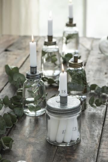 Kerzenhalter aus Glas niedrig mit Metalldeckel - IB Laursen