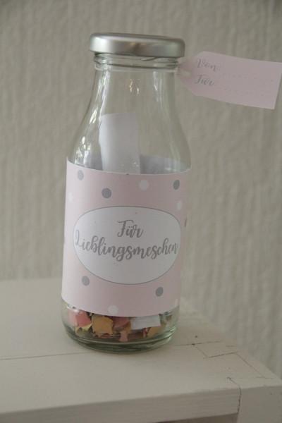 """Flasche für Gutschein """" Lieblingsmenschen """""""