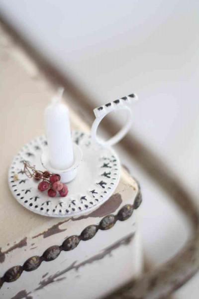 Kerzenhalter mit Henkel, antique weiß