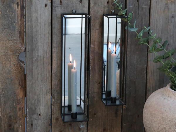 Kerzenhalter mit Spiegel für Wand, Chic Antique