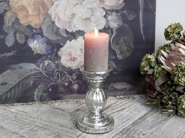 Kerzenständer bauernsilber mit Rillenmuster - Chic Antique
