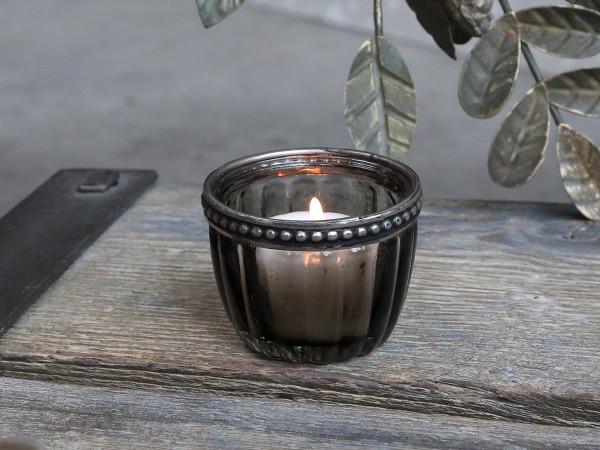 Teelichtglas dunkelgrau gerillt mit Perlenkante - Chic Antique