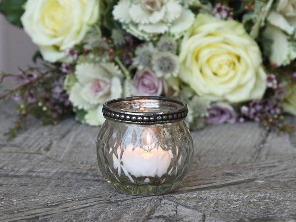 Teelichtglas mit Perlenkante, Chic Antique