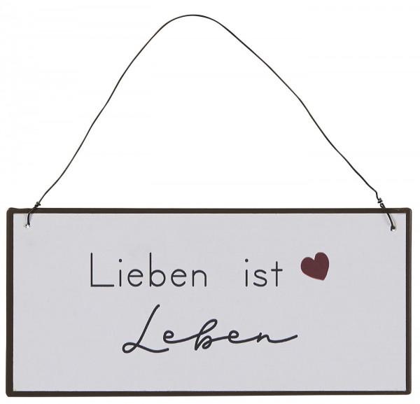 """Metallschild """"Lieben ist Leben"""", IB Laursen"""