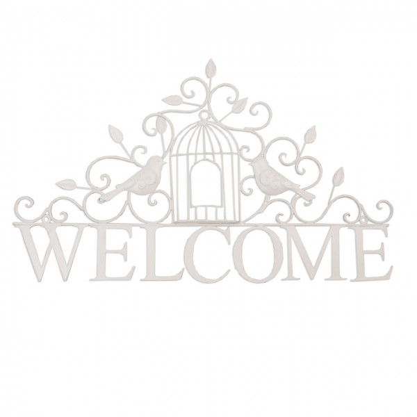 """Wandschild """"WELCOME"""", weiss, Clayre&Eef"""