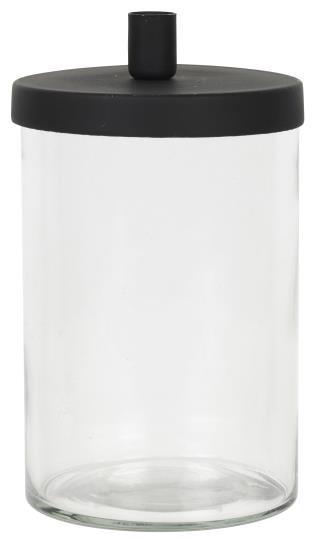 Kerzenhalter Glas mit Metalldeckel für dünne Kerzen - IB Laursen