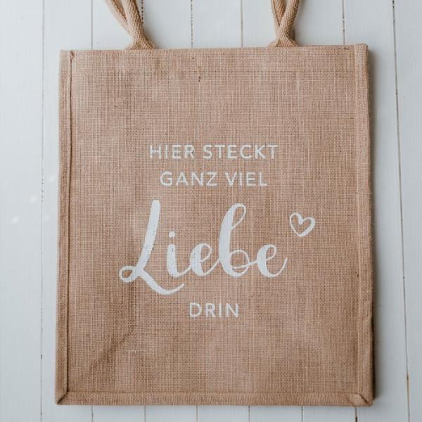"""Jutetasche Shopper """"Liebe"""" - Eulenschnitt"""