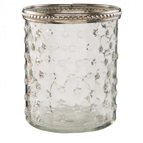 Teelichtglas mit Silberrand, Clayre&Eef