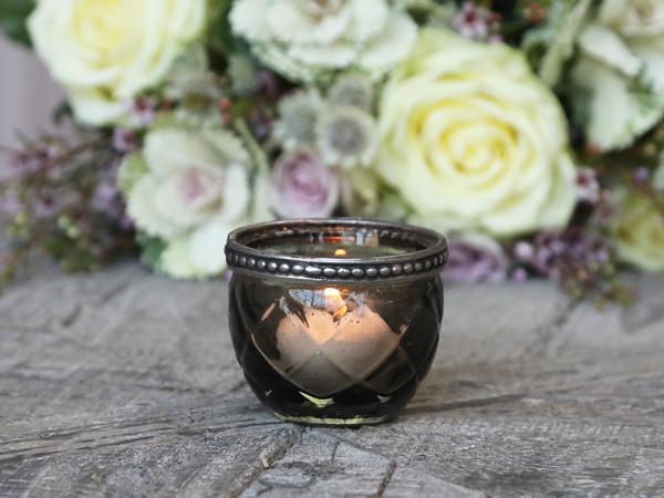Teelichtglas dunkelgrau mit Perlenkante - Chic Antique