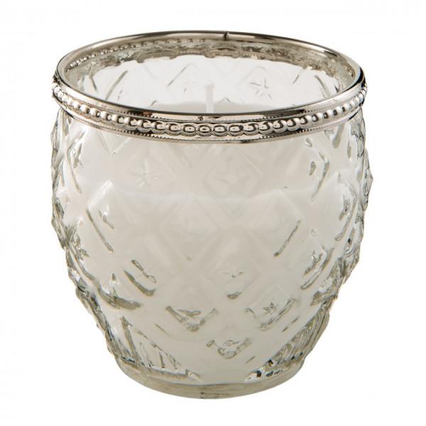 Kerzenglas mit Silberrand, bauchig, Clayre&Eef