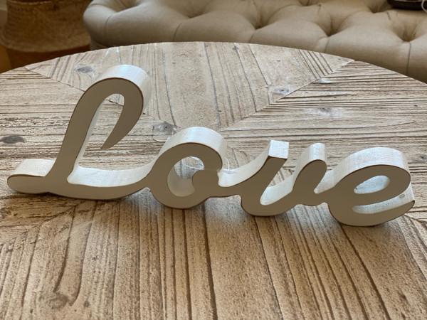 Schriftzug Holz, Love, Dream, Relax