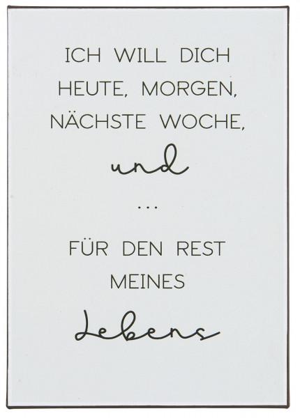 """Metallschild """"Ich will Dich heute, morgen.."""", IB Laursen"""