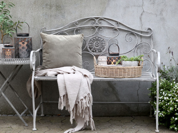 Gartenbank mit Dekor, Chic Antique