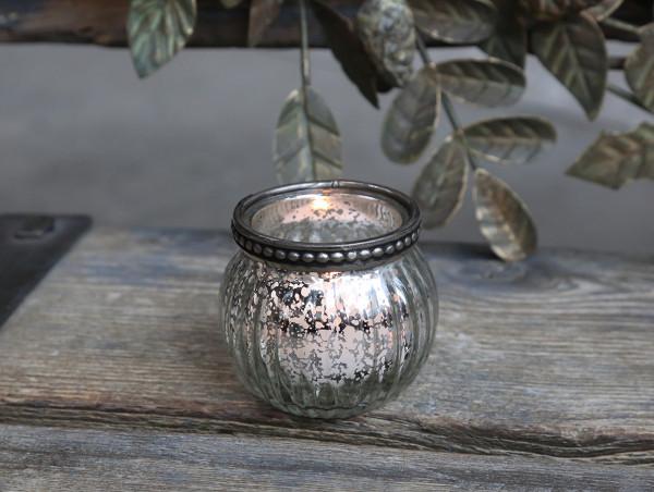 Teelichtglas mit Perlenkante antique silber, Chic Antique