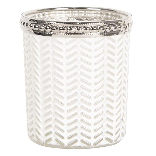 Teelichthalter - Kerzenglas weiss Fischgratmuster, Clayre & Eef