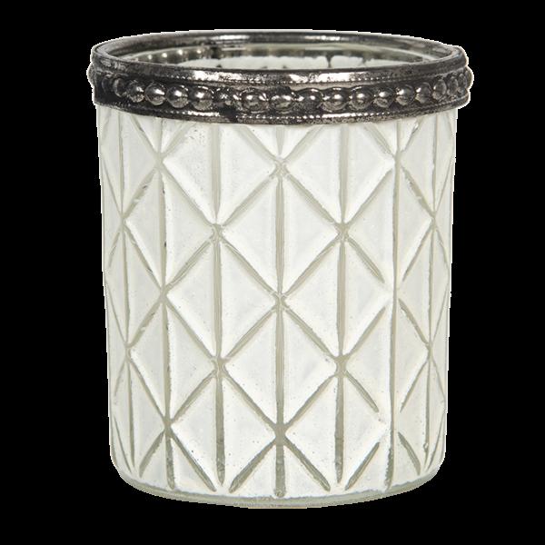 Teelichthalter - Kerzenglas weiss Rhombus mit Strich, Clayre & Eef
