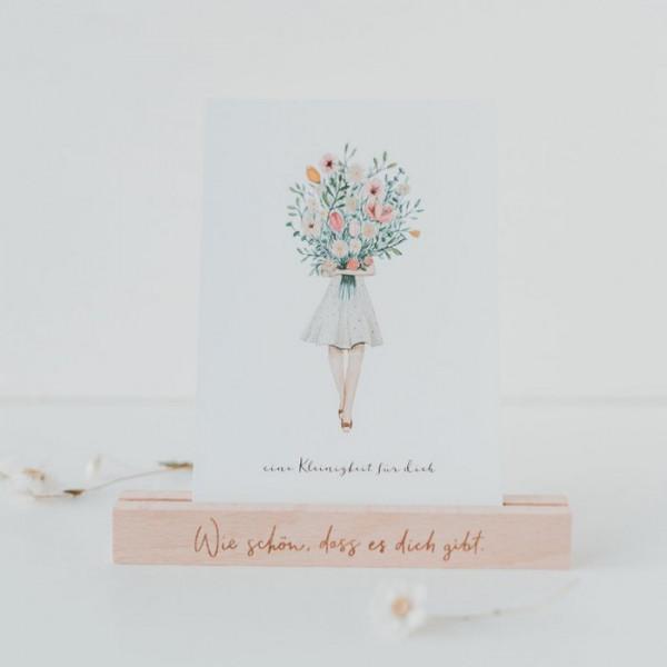 """Kartenständer mit Spruch """"Wie schön"""" für 2 Karten - Eulenschnitt"""