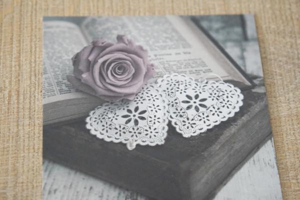 """Karte """"Buch-Herz-Rose"""""""