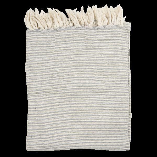 Decke/Plaid grau/creme gestreift, Clayre & Eef