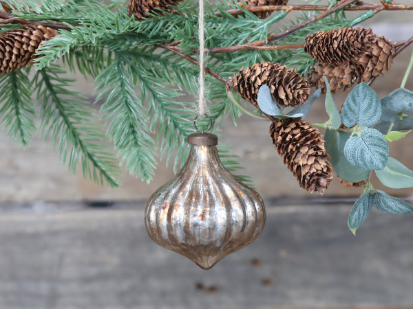 Weihnachtskugel antique champagner, Chic Antique