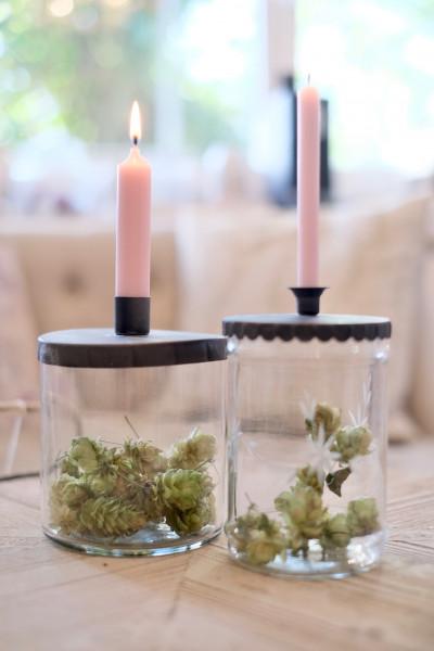 Kerzenständer mit Deckel für Stabkerze, Chic Antique