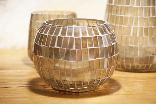 Kerzenglas rund gold gross