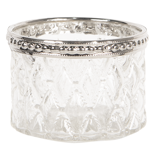 Teelichtglas mit Rombusmuster, Clayre&Eef