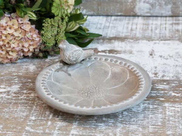 Vogelbad mit Perlenrand und Blume, Chic Antique