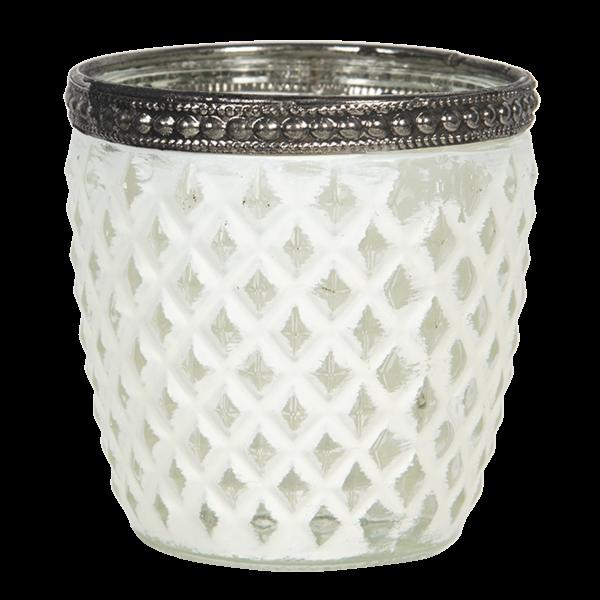 Teelichthalter - Kerzenglas weiss Rhombusmuster, Clayre & Eef