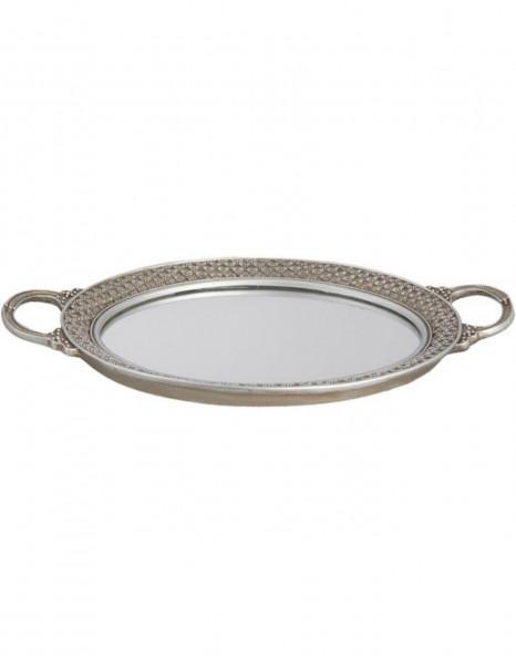 Tablett mit Spiegel oval, silber, Clayre&Eef