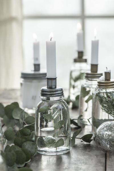 Kerzenhalter aus Glas mit Metalldeckel - IB Laursen