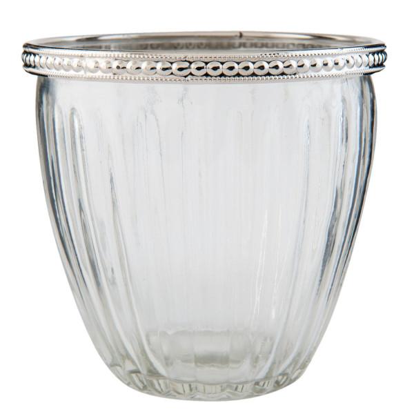 Teelichthalter mit Perlenrand Clayre&Eef