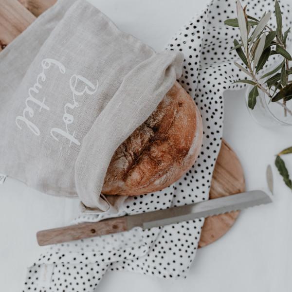 Brotbeutel aus Leinen, Eulenschnitt