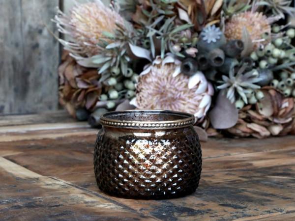 Teelichtglas mokka bauchig mit Perlenkante - Chic Antique