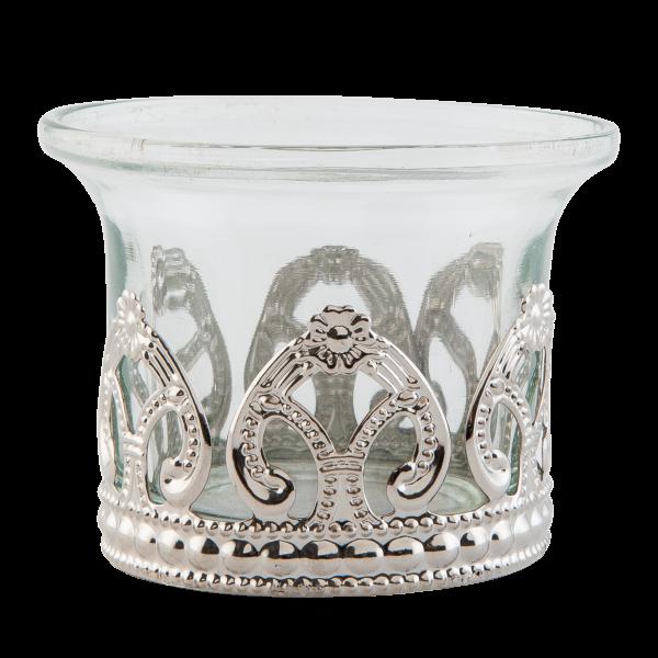 Teelichthalter mit Blumenrand, Clayre&Eef